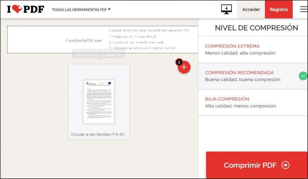 comprimir PDF en la web.