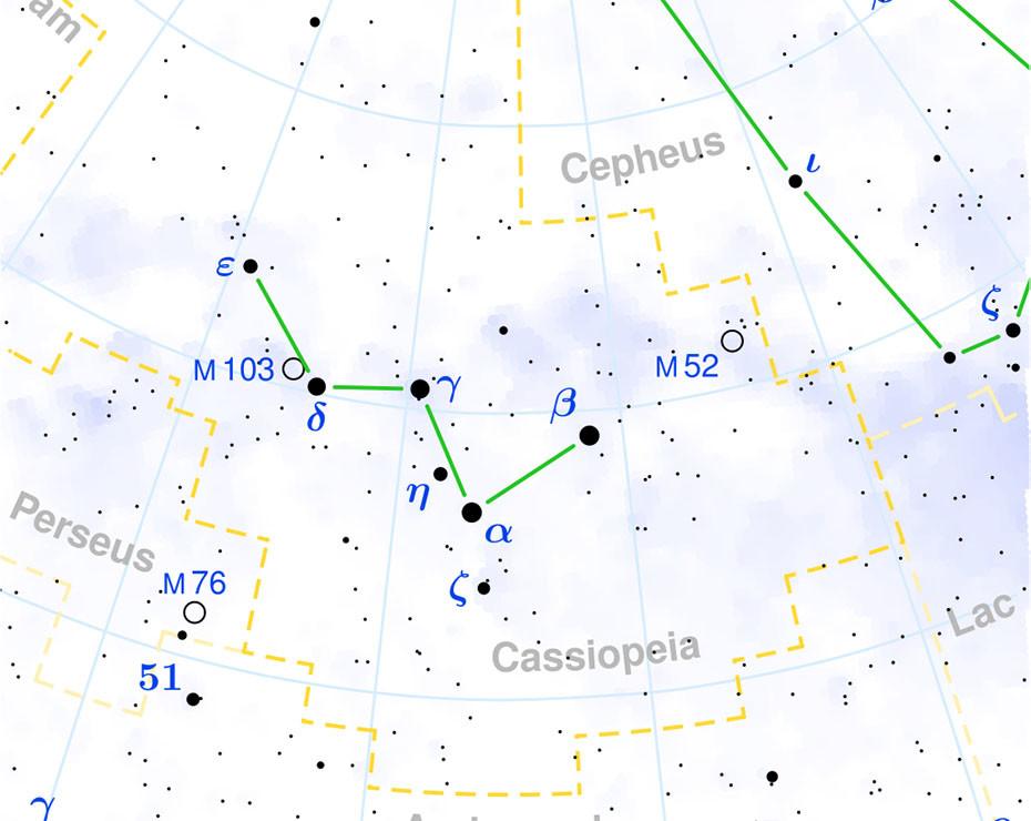 Casiopea es fácilmente reconocible por su forma de W o M.