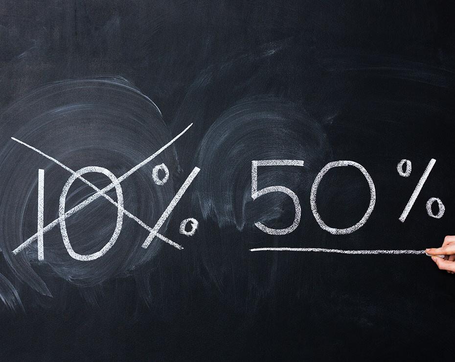 porcentaje de 10% tachado y del 50% subrayado como correcto