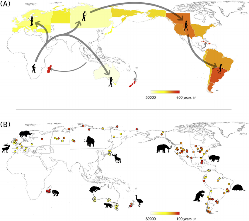 ruta de los seres humanos hace miles de años, cuando salieron de África para ir a Europa, Asia, Norteamérica, Suramérica y Australia