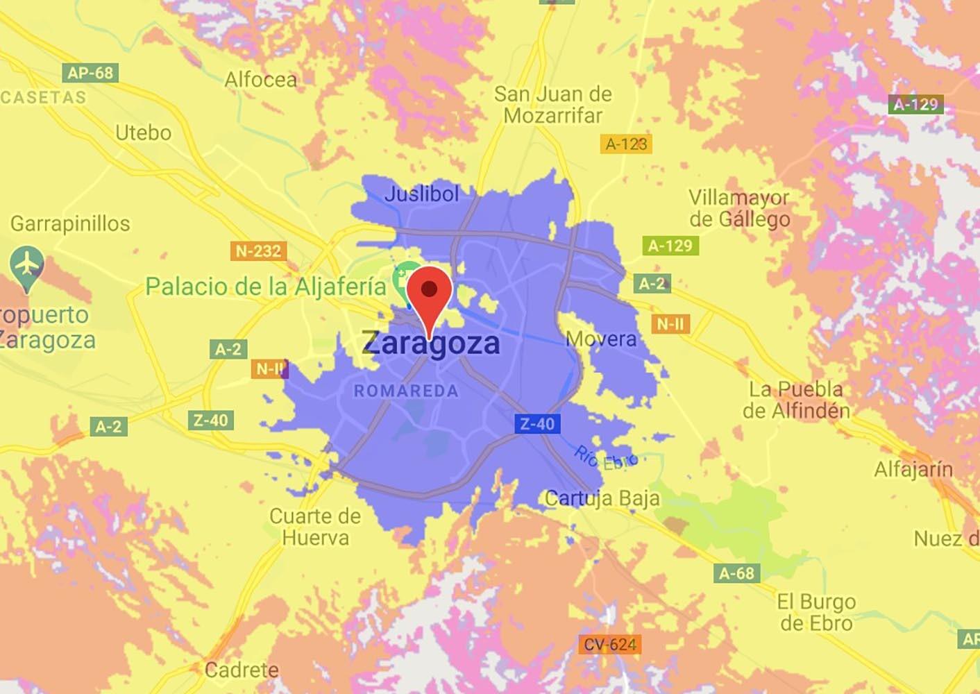 Cobertura 5G de Orange en Zaragoza