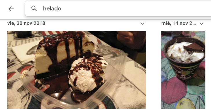 google photos identifica helado