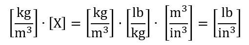 como calcular la densidad cambio a unidades imperiales