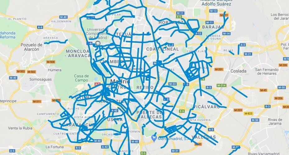 limpieza de nieve en las calles de Madrid