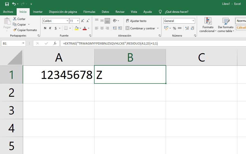 calcular la letra en excel