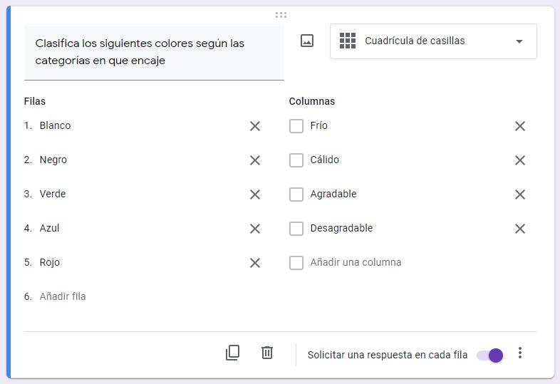 crear una encuesta de google formularios - cuadricula casillas