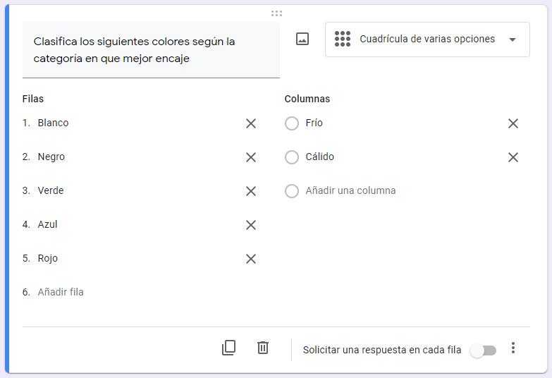crear una encuesta de google formularios - cuadricula de varias opciones