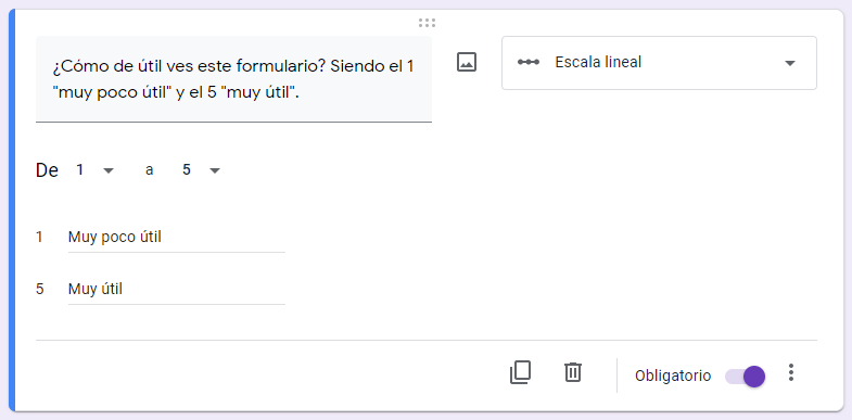 crear una encuesta de google formularios - escala lineal