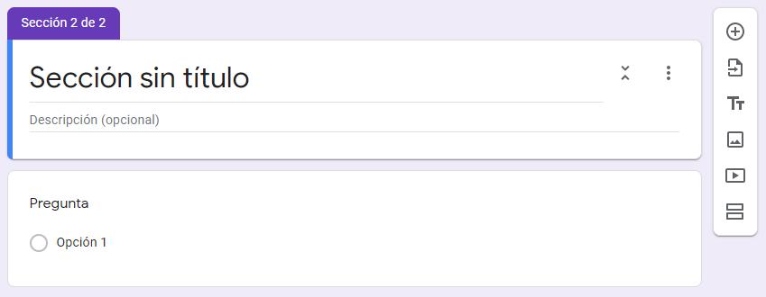 crear una encuesta de google formularios - nueva seccion