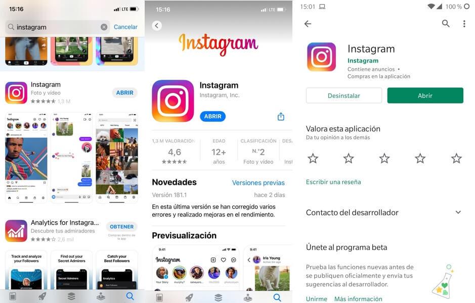Como actualizar Instagram en iOS y Android