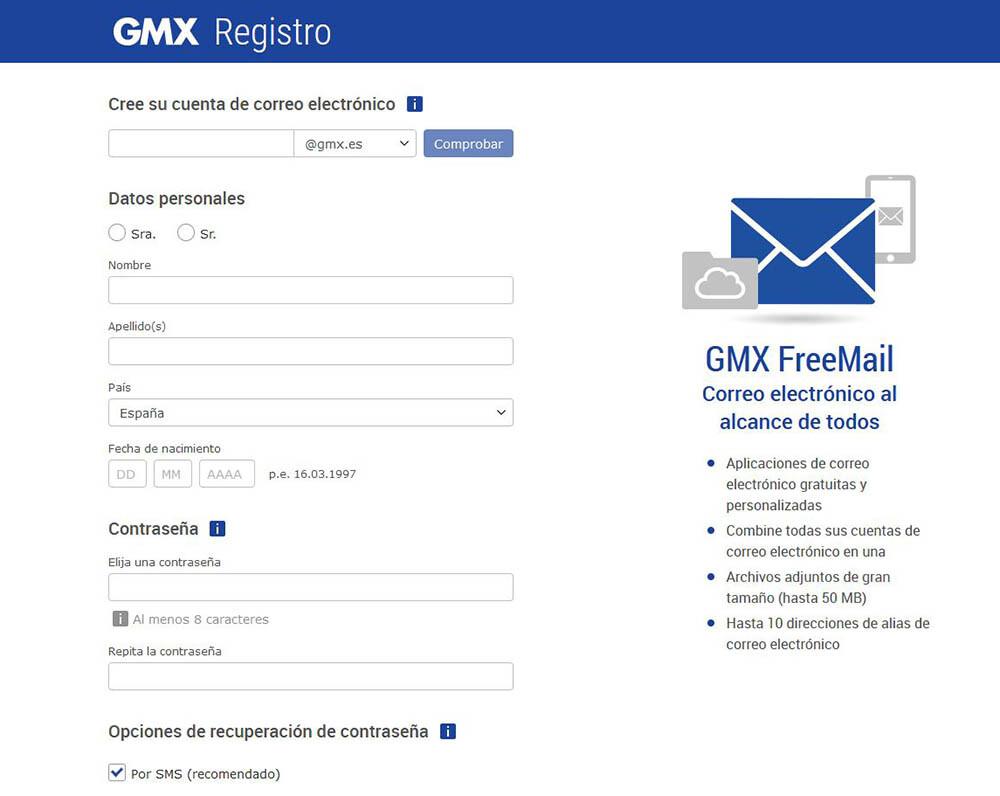 cómo hacer un correo de GMX Mail