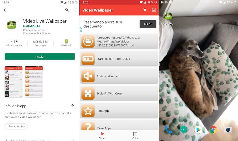 video de fondo de pantalla Android