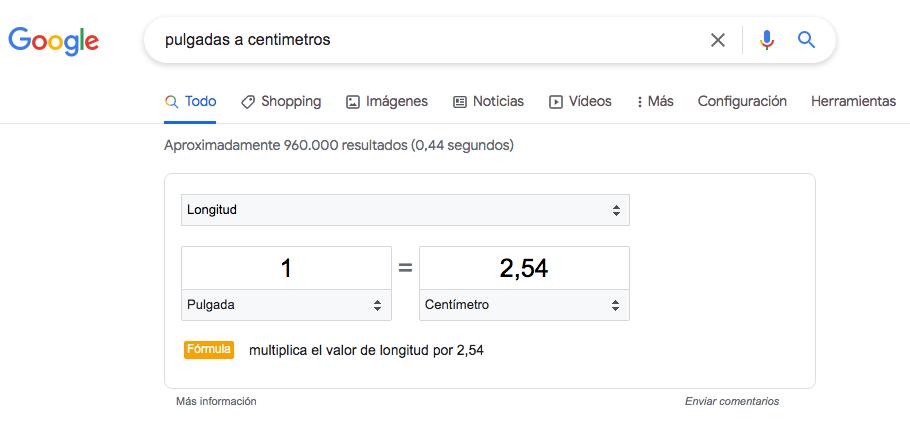 Como medir las pulgadas en Google