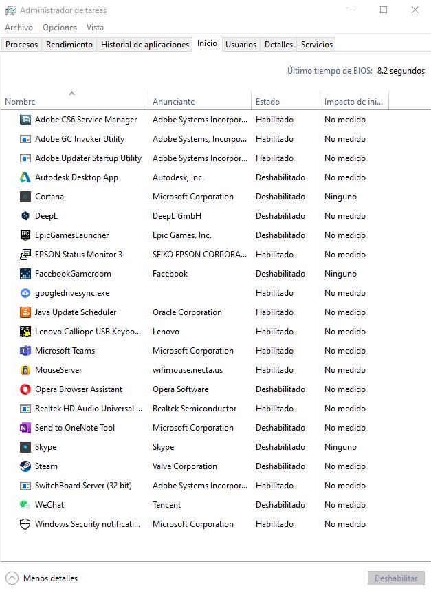acelerar arranque windows deshabilitar aplicaciones inicio