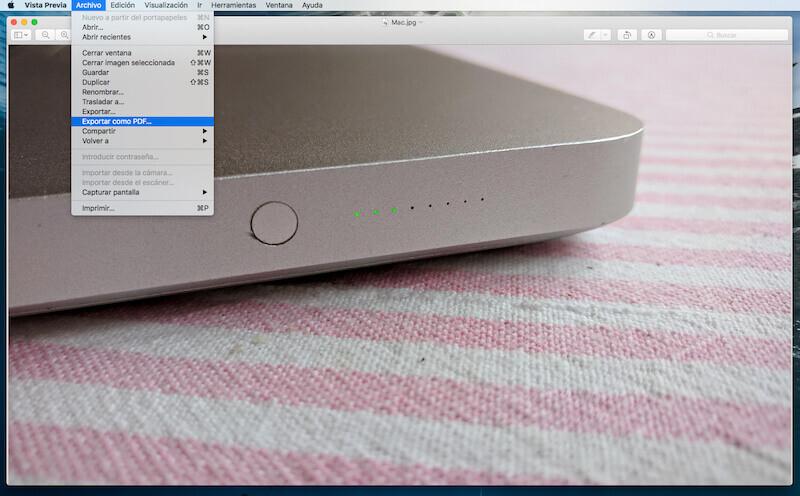 JPG a PDF en Mac