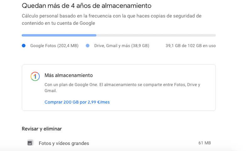 estimación de tu espacio gratuito en Google