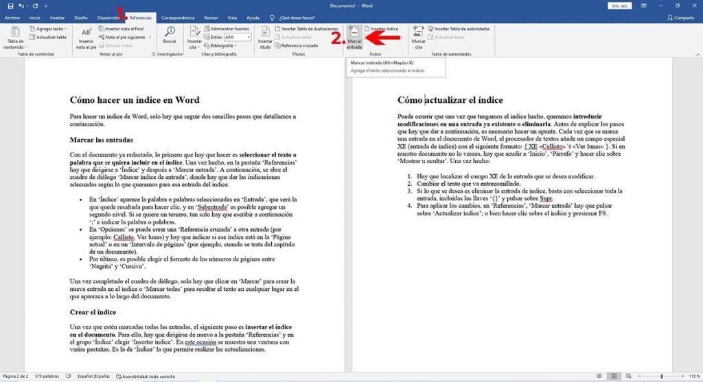 cómo crear un índice en Word