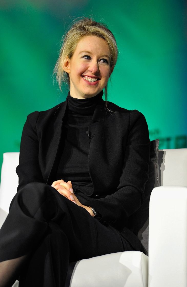 SAN FRANCISCO, CA - SEPTEMBER 08: Theranos Chairman, CEO and Founder Elizabeth Holmes speaks onstage at TechCrunch Disrupt at Pier 48 on September 8, 2014 in San Francisco, California. (Photo by Steve Jennings/Getty Images for TechCrunch) *** Local Caption *** Elizabeth Holmes