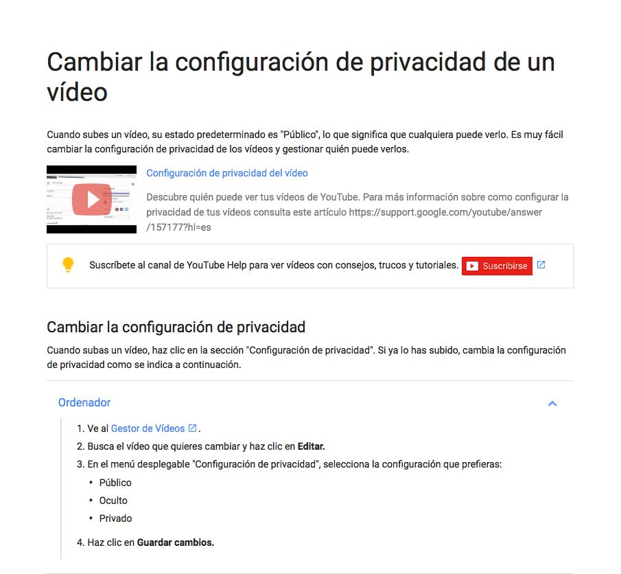Privacidad videos