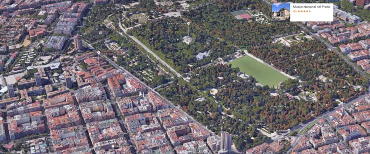 El Retiro de Madrid, desde el cielo