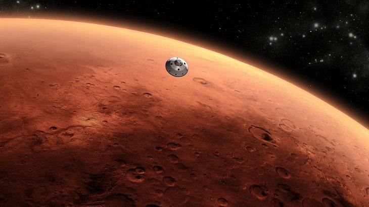 sonda curiosity aproximandose a marte