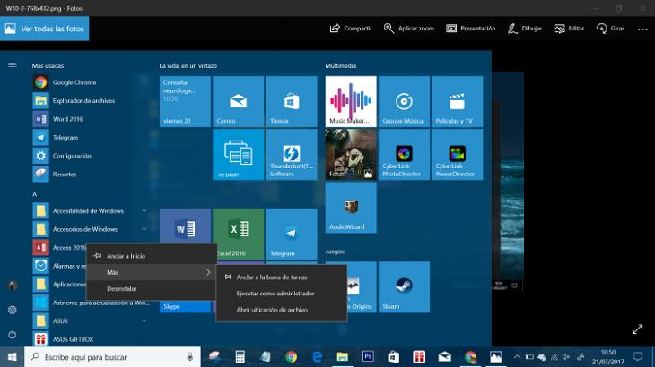 Cómo personalizar la barra de tareas de Windows 10 y volar