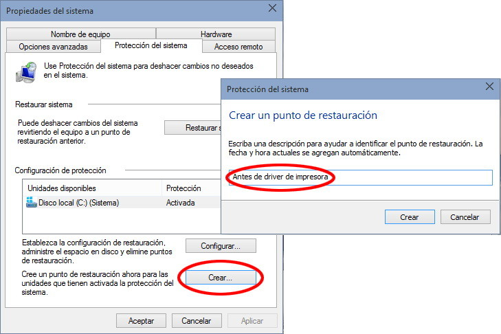 Configurar un punto de restauración Windows 10