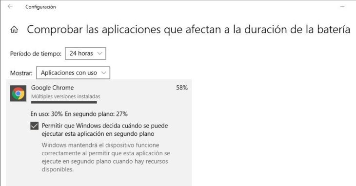 Cómo saber qué aplicaciones están agotando la batería en Windows 10