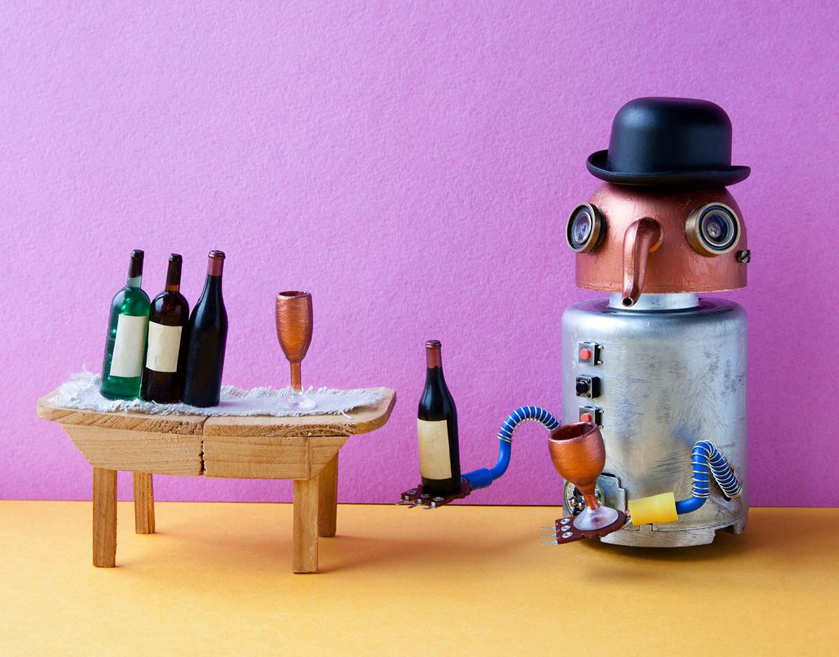 humor robot ia humano entran en un bar