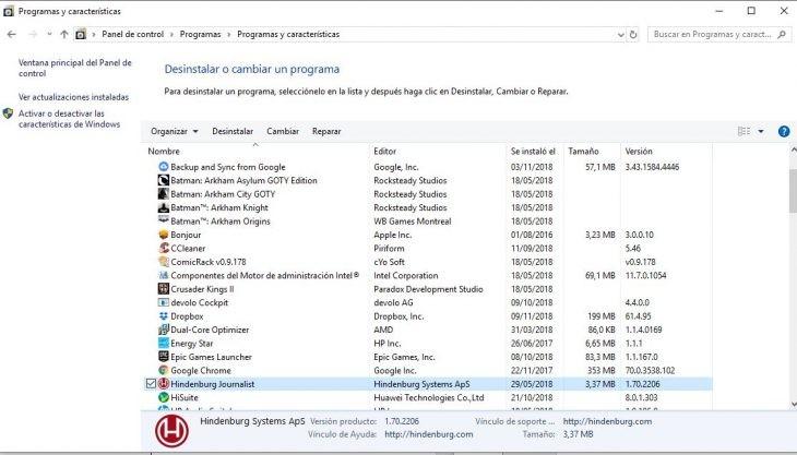 Cómo desinstalar o reparar un programa en Windows 10