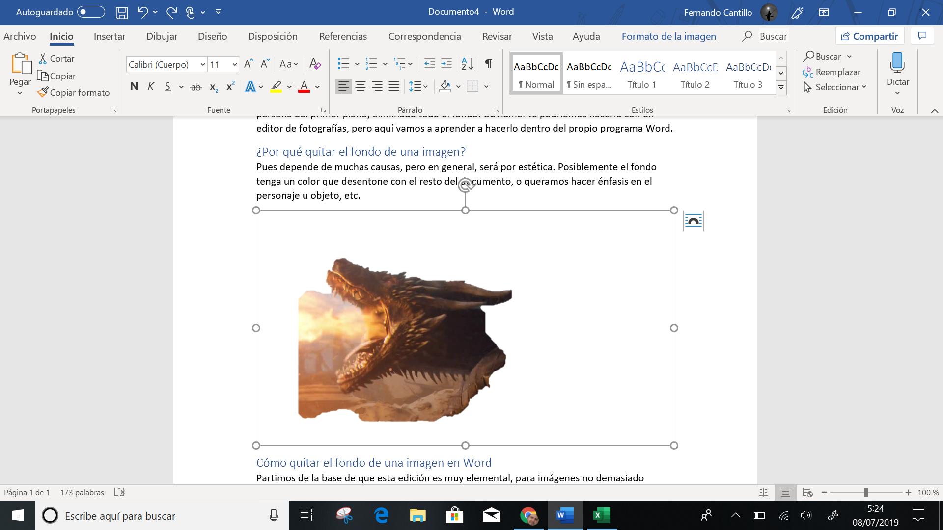 Cómo quitar el fondo de una imagen en Microsoft Word