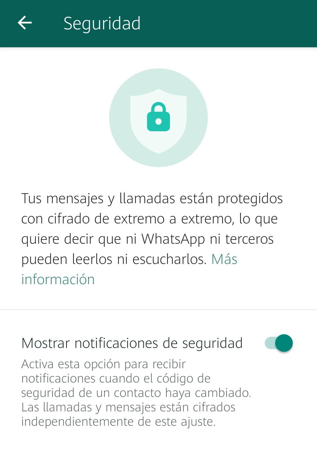 verificar el cifrado de datos de WhatsApp