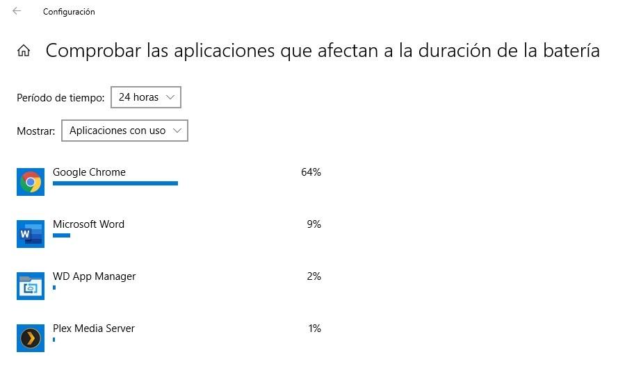 energía en Windows 10