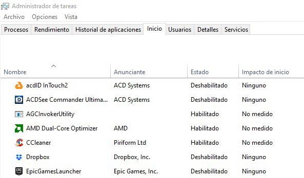 inicio lento de Windows 10