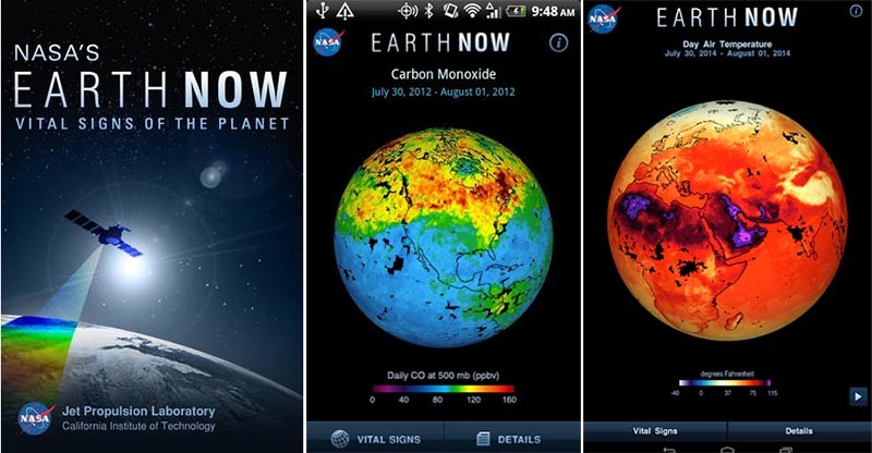 aplicación Earth Now de la NASA