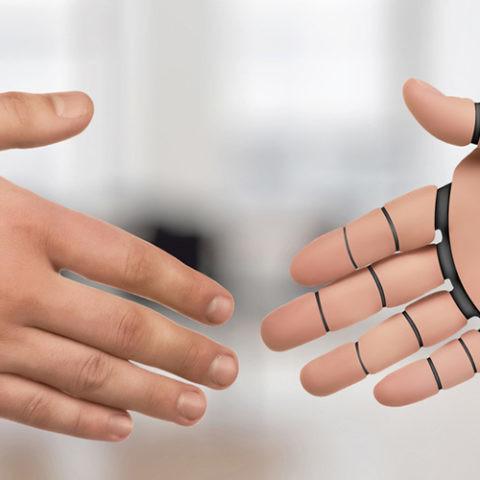 piel sintetica cobots robots trabajo con personas