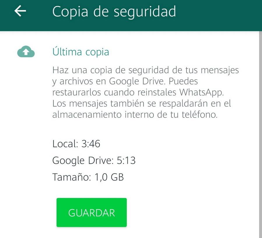 copia de seguridad de los mensajes de WhatsApp