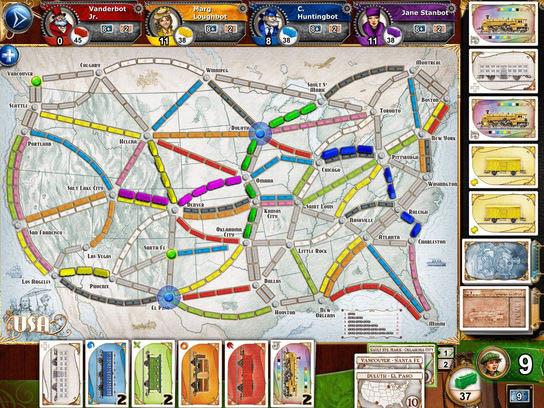 Ticket to ride es un juego que también está disponible en juego físico y online.