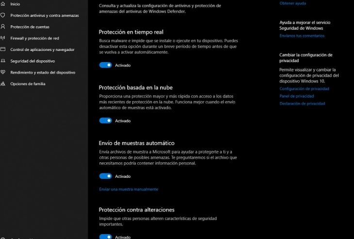 activar windows defender