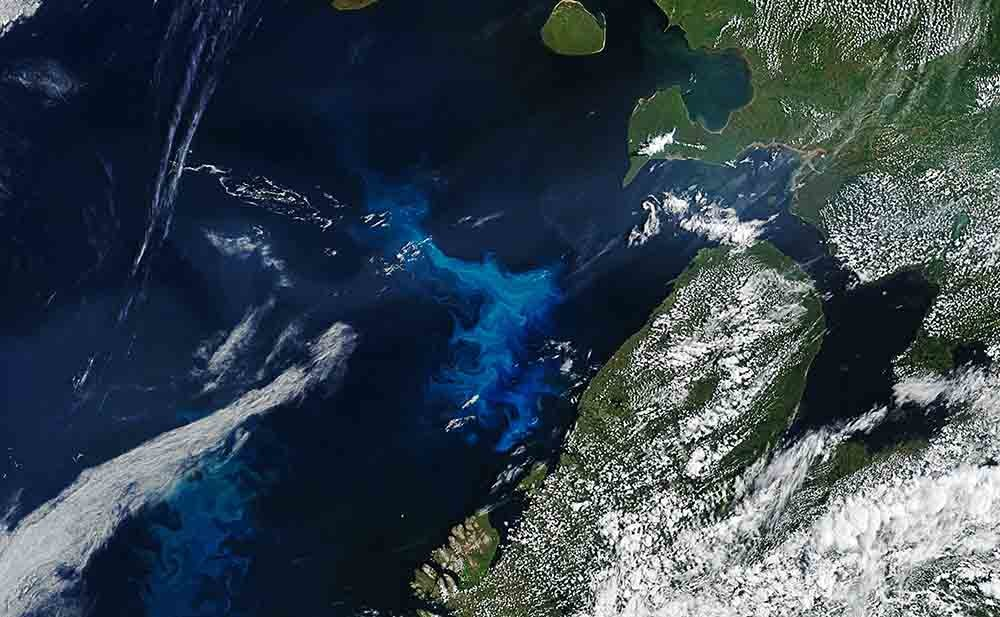 el mar de Barents desde el satélite