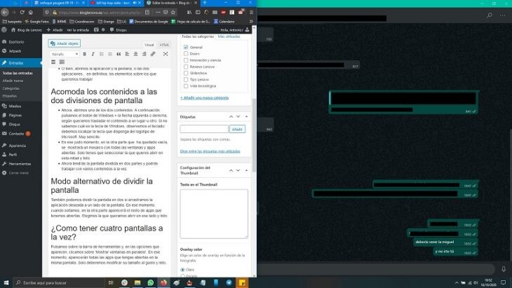 dividir la pantalla en dos en Windows 10