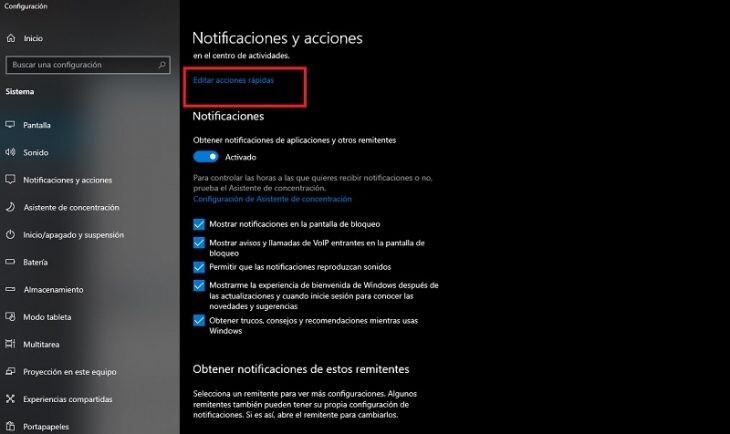 acciones rápidas en Windows 10