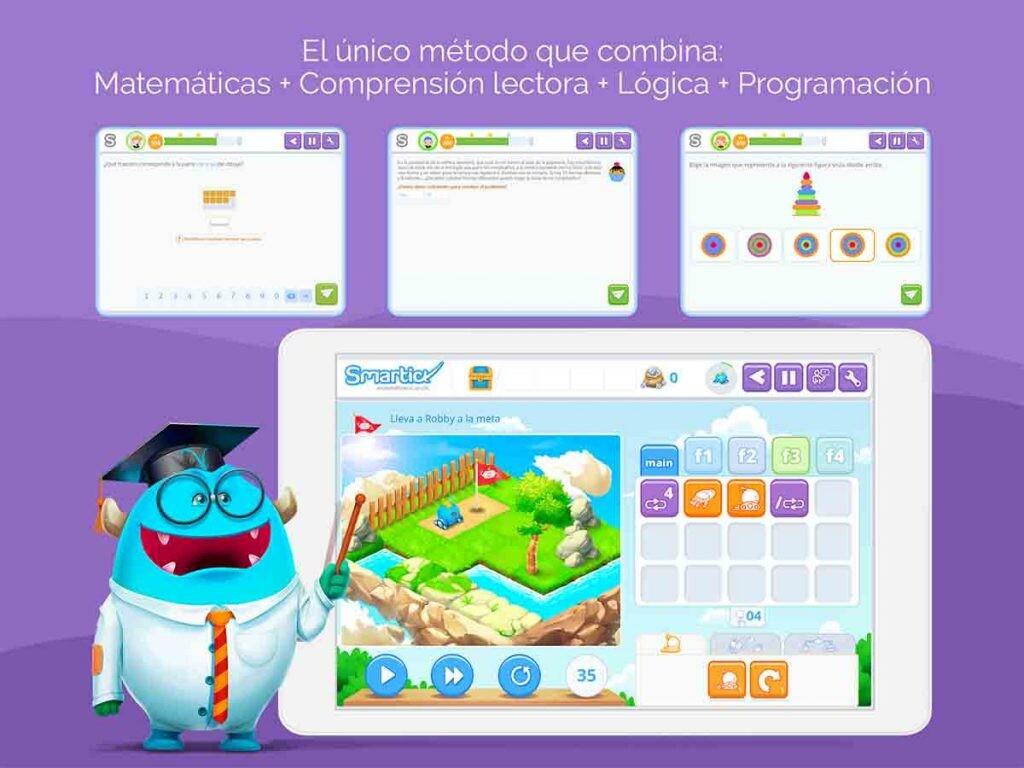 Smartick plantea retos de lógica para mejorar el nivel de matemáticas y lengua.