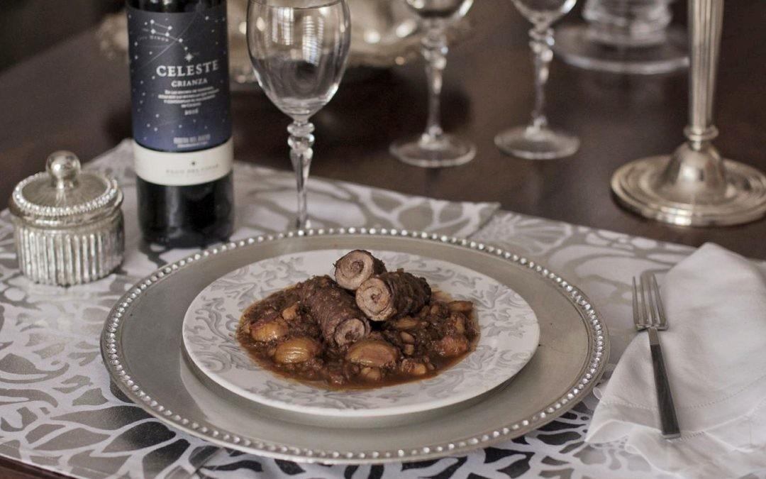 Rollitos de ternera con castañas al vino tinto, una receta fácil para lucirse en cualquier celebración