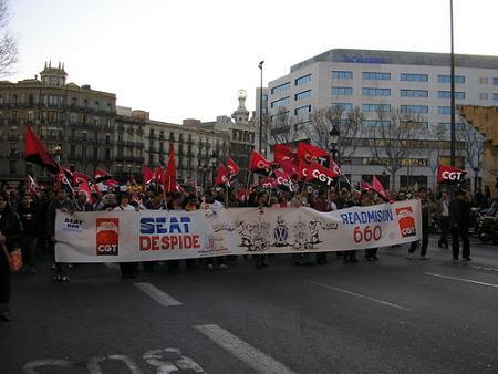 Manifestacion por despidos en Seat. Barcelona, Marzo 2006