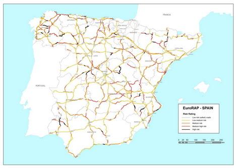 Mapa riesgo carreteras españolas