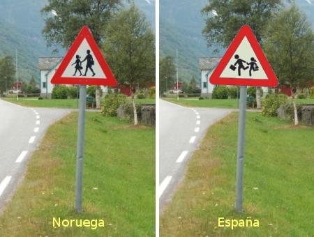 Escolares en Noruega y en España