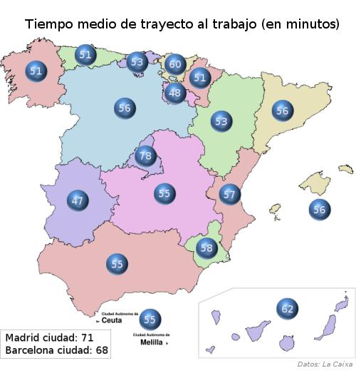 Tiempos in itinere por comunidades autónomas