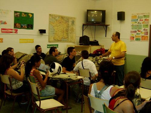 Diego Gutiérrez, dando una charla a jóvenes de un instituto