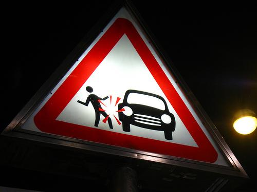 Señal de peligro de atropello